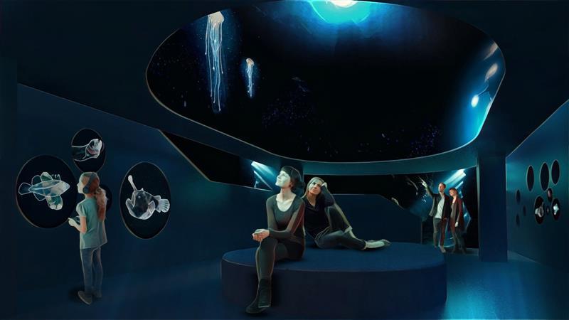 Museum der Zukunft gezeigt am virtuellen Konzept des neuen Naturkundemuseum Leipzig
