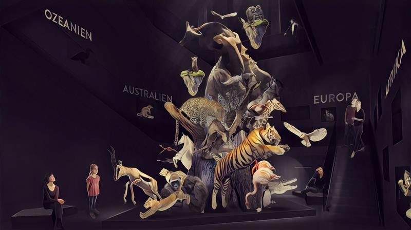 Entwurf Tier-Skulptur Naturkundemueseum Leipzig in Anlehnung an Herman H. ter Meer