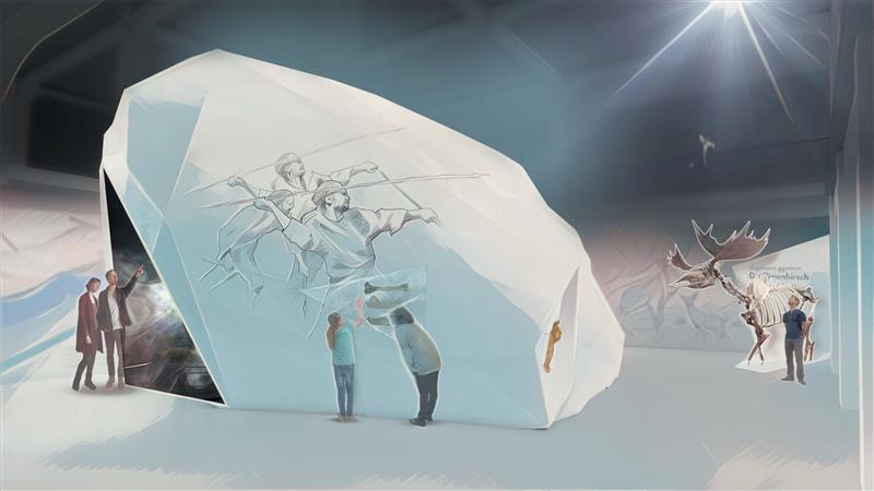Das ist ein virtuelles Design-Konzept für Ausstellungen und Museen der Zukunft